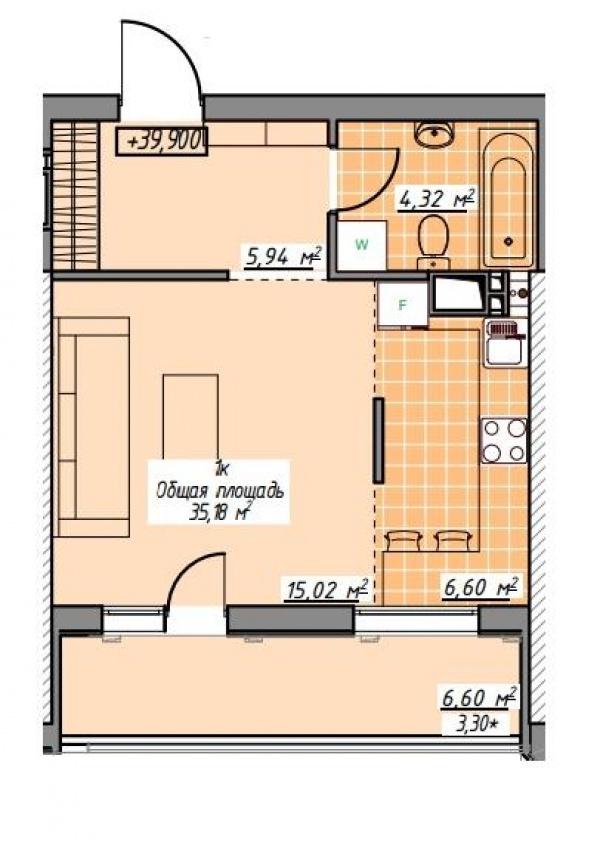 Планировки однокомнатных квартир 35.18 м^2